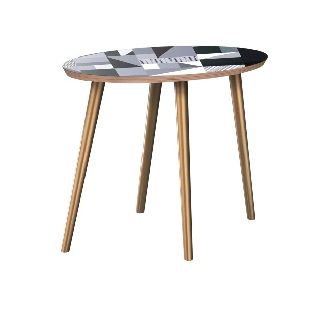 Hudspeth End Table Table Base Color: Brass, Table Top Color: Walnut