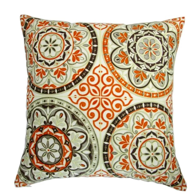 Galien Modern Spanish Moroccan Wheel Circles in Indigo Indoor/Outdoor Throw Pillow Color: Orange