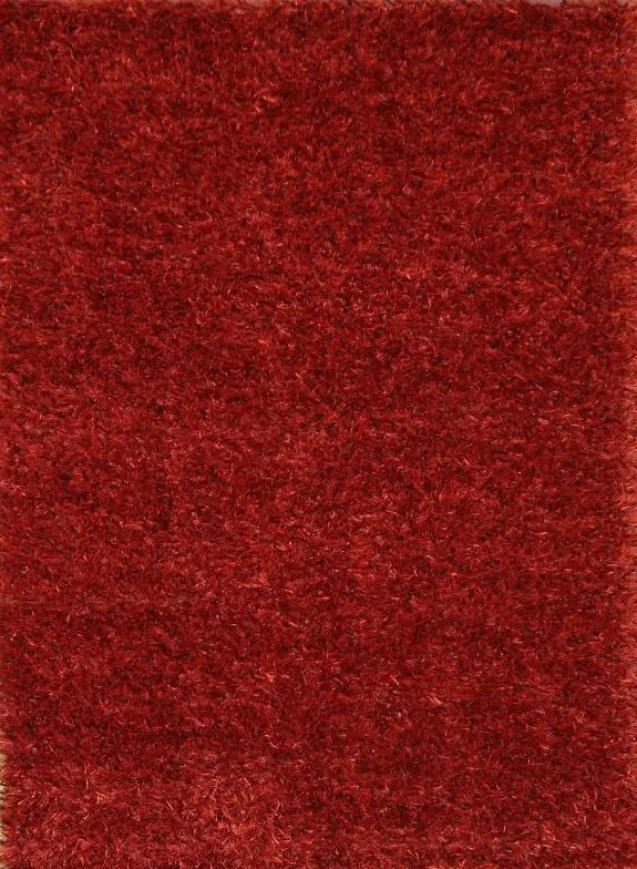 Myah Shaggy Oriental Hand-Knotted Wool Red Area Rug