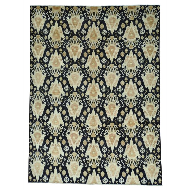 One-of-a-Kind Graybill Ikat Oriental Hand-Knotted Black Area Rug