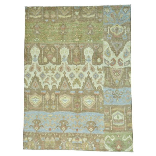 One-of-a-Kind Grasso Ikat Uzbek Oriental Hand-Knotted Blue/Gray Area Rug