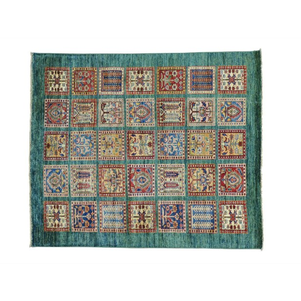 One-of-a-Kind Espada Garden Squarish Super Oriental Hand-Knotted Green Area Rug