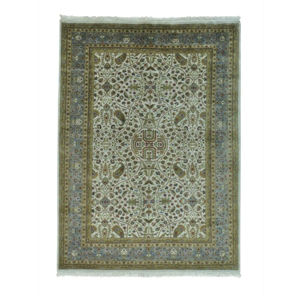 One-of-a-Kind Dillion New Zealand Oriental Hand-Knotted Wool Beige Area Rug