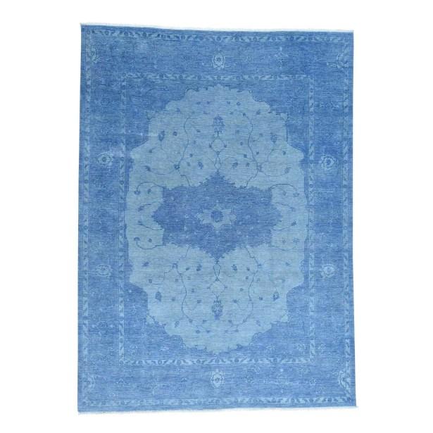 One-of-a-Kind Piatt Denim Overdyed Serapi Hand-Knotted Blue Area Rug