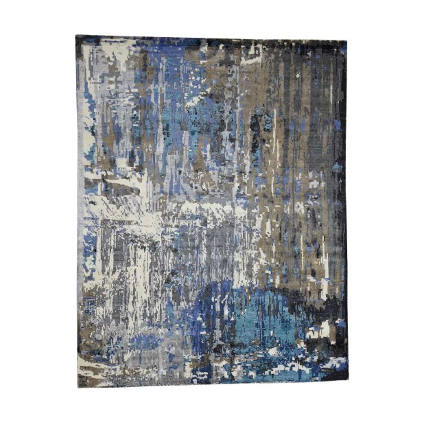 One-of-a-Kind Nelligan Abstract Oriental Hand-Knotted Silk Brown Area Rug