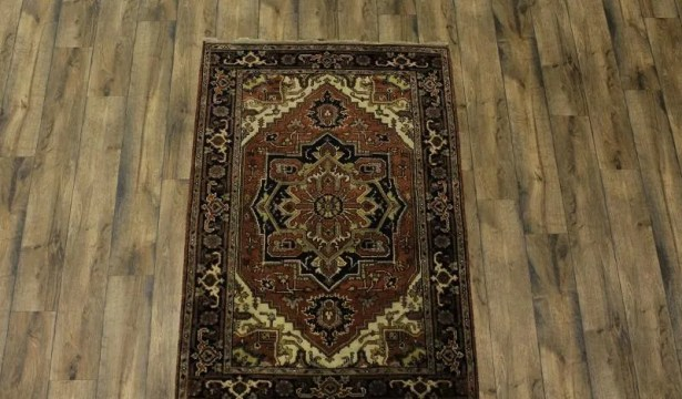 One-of-a-Kind Purvis Oriental Hand-Knotted Wool Brown Area Rug