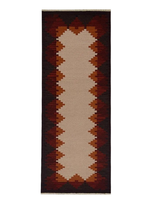 St Catherine Handmade Kilim Wool Beige/Red Area Rug Rug Size: Runner 3' x 13'