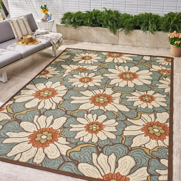 Heisler Floral Blue Indoor/Outdoor Area Rug Rug Size: Rectangle 7'10