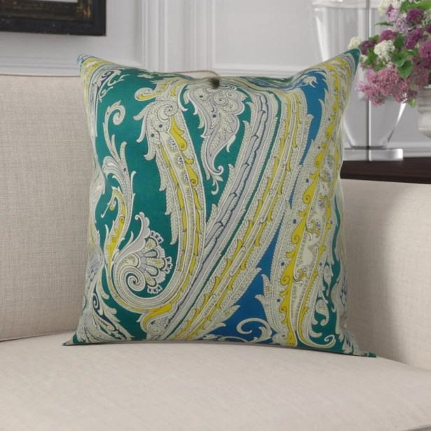 Edmiston Paisley Luxury Pillow Fill Material: 95/5 Feather/Down, Size: 26