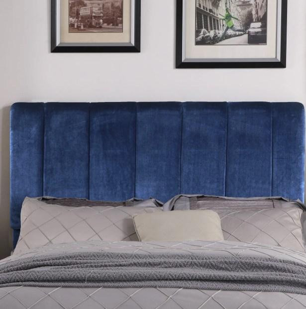 Kurth Upholstered Panel Headboard Size: King, Upholstery: Navy