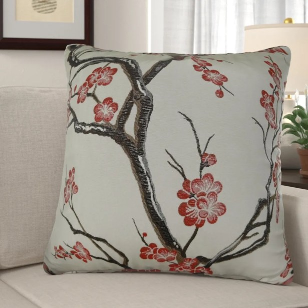 Krauthamer Cherry Blossom Luxury Pillow Fill Material: Cover Only - No Insert, Size: 16