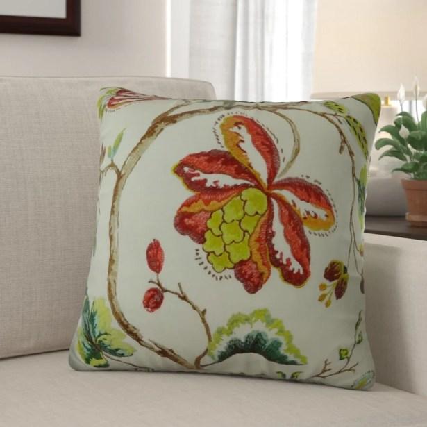 Dennett Floral Embroide Pillow Fill Material: H-allrgnc Polyfill, Size: 20
