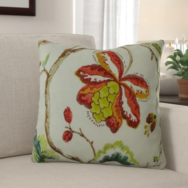 Dennett Floral Embroide Pillow Fill Material: 95/5 Feather/Down, Size: 20