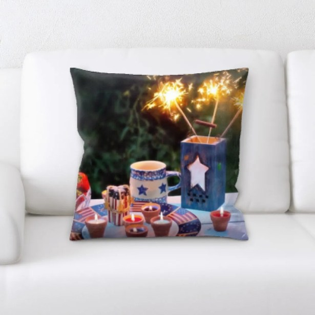 Mireya Fourth of July and Strawberries Throw Pillow