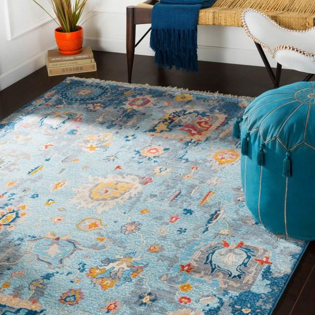 Elvis Distressed Vintage Blue Area Rug Rug Size: Rectangle 3'11