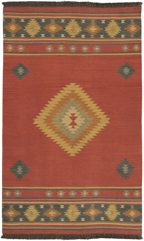 Double Mountain Hand-Woven Wool Red/Ivory Area Rug Rug Size: Rectangle 9' x 13'