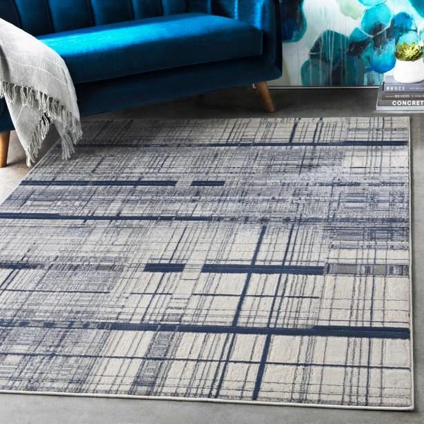 Hyacinth Modern Abstract Navy/Charcoal Area Rug Rug Size: Rectangle 5'3