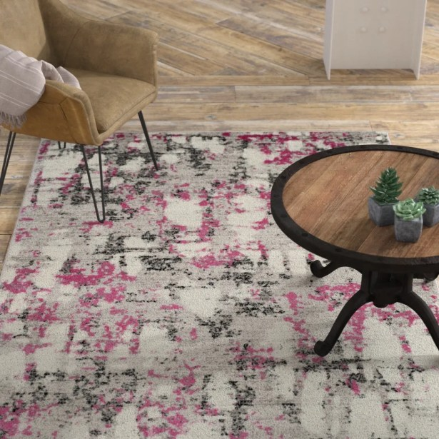 Despain Gray/Pink Area Rug Rug Size: Rectangle 9' x 12'