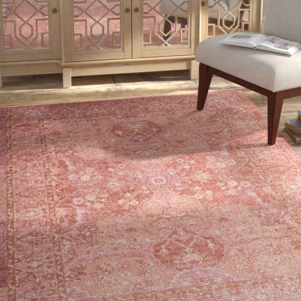 Chauncey Floral Pink Area Rug Rug Size: Square 6'