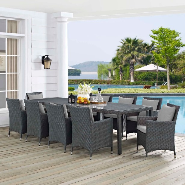 Tripp 11 Piece Dining Set with Sunbrella Cushions Cushion Color: Gray, Table Size: 29