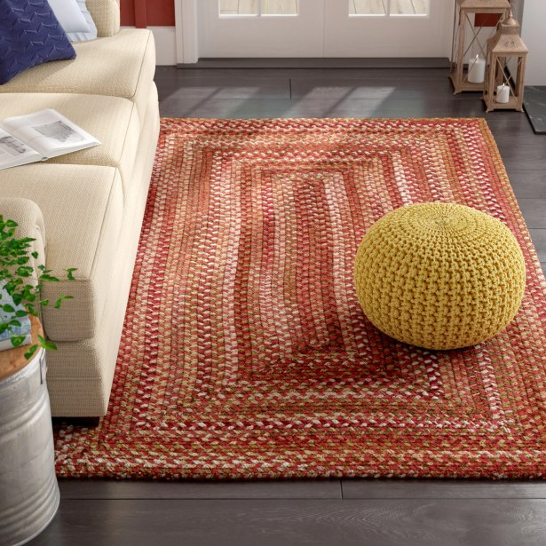 Holcombe Red Wool Hand Braided Area Rug Rug Size: Round 7'6