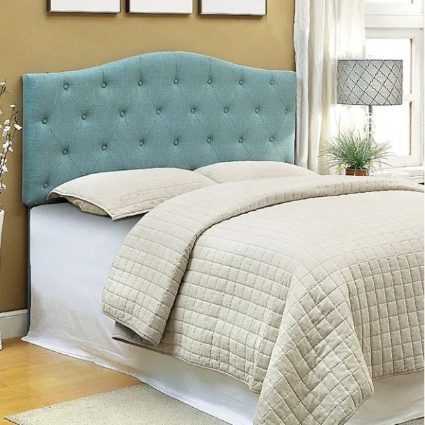 Mabel Compatibility Upholstered Panel Headboard Size: Full/Queen, Upholstery: Blue