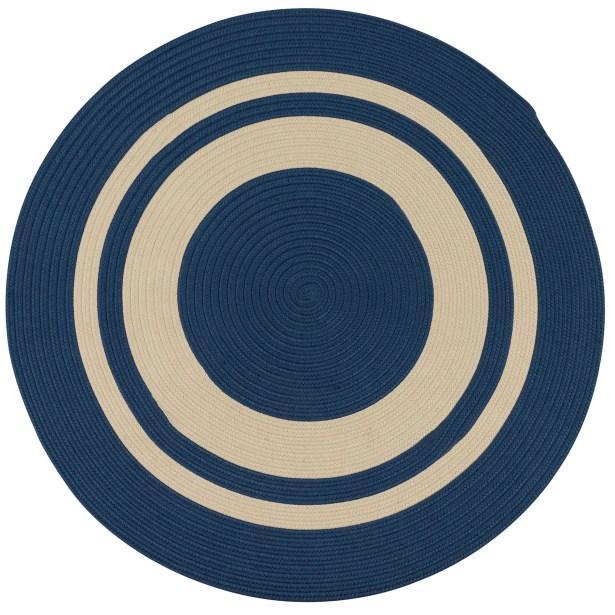Don Hand-Braided Blue/Beige Indoor/Outdoor Area Rug Rug Size: Round 11'