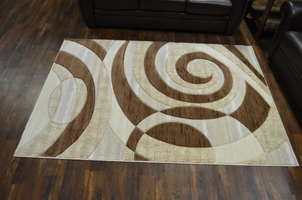 Mccampbell 3D Hand Carved Abstract Beige/Brown Area Rug