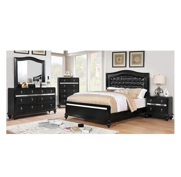 Bovey Upholstered Panel Bed Color: Black, Size: Queen