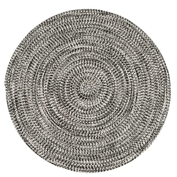 Longe Tweed Hand-Braided Electric Black Indoor/Outdoor Area Rug Rug Size: Round 8'