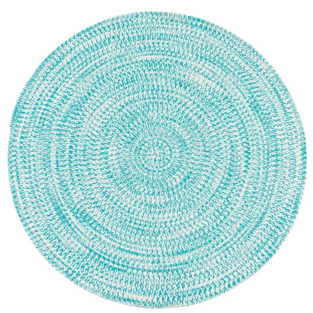 Longe Tweed Hand-Braided Aqua Indoor/Outdoor Area Rug Rug Size: Round 9'