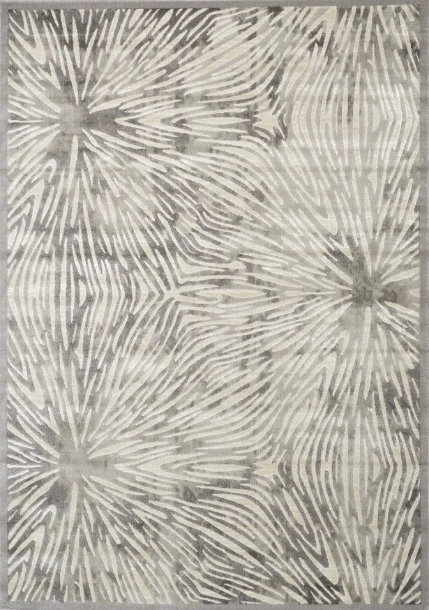 Alvin Flower Bursts Gray/White Area Rug Rug Size: Rectangle 7'10'' x 10'6''