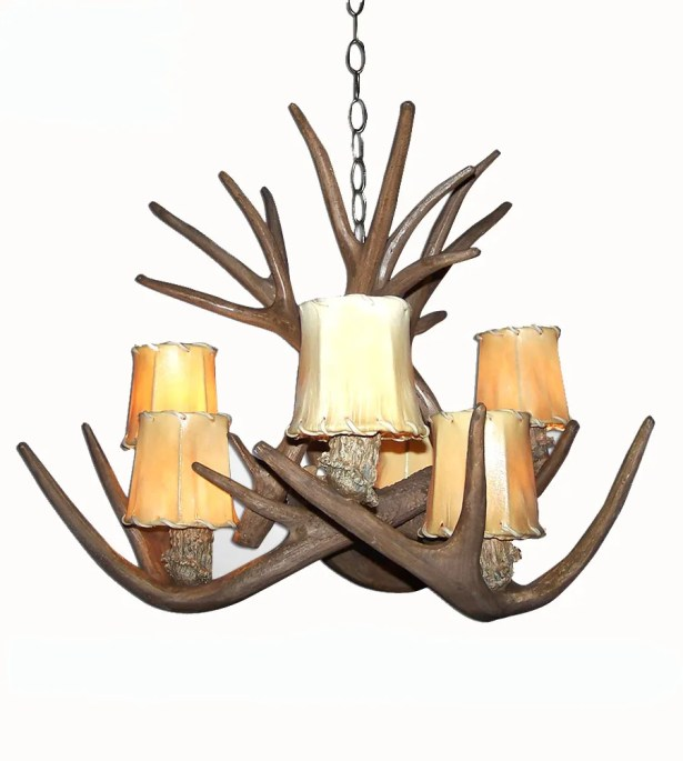 Price Tail 6-Light Shaded Chandelier Shade Color: Rawhide, Finish: Black Chain/White Antlers