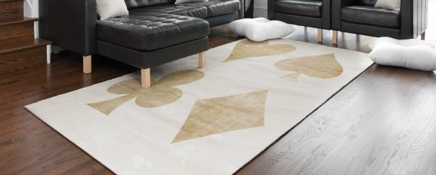 Hadrian Playing Cards Beige/Gold Area Rug Rug Size: Rectangle 2' x 3'