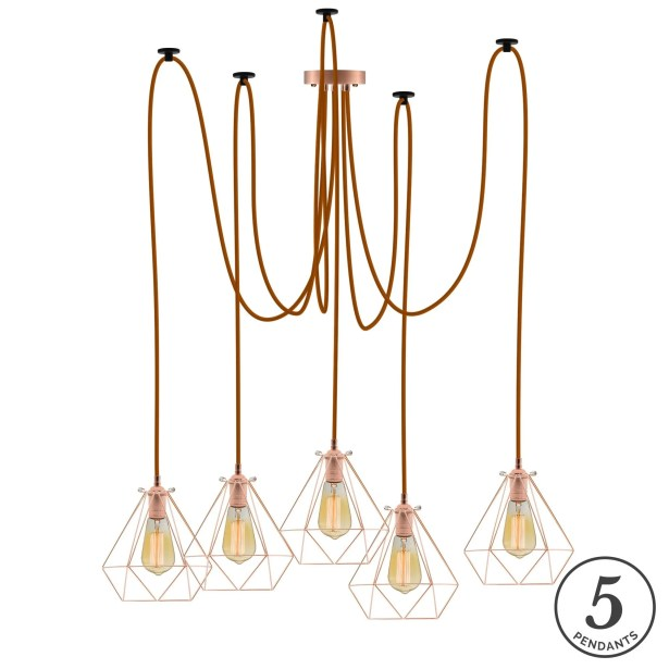 Esai 5-Light Cluster Pendant Shade Color: Copper, Finish: Rust