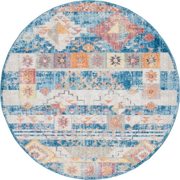 Bearden Blue Area Rug Rug Size: Round 8'