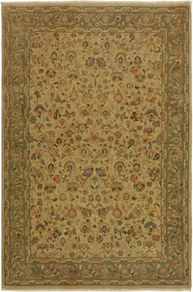 One-of-a-Kind Ernesto Turkish Hand-Knotted Wool Tan/Green Area Rug