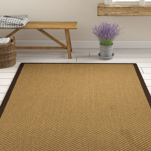 Loehr Hand Woven Fiber Sisal Brown/Fudge Area Rug with Rug Pad Rug Size: Rectangle 6' x 9'