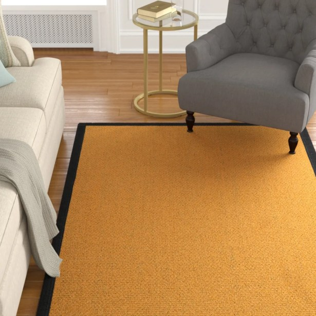 Pritzker Handwoven Flatweave Yellow Area Rug Rug Size: Rectangle 4' X 6'