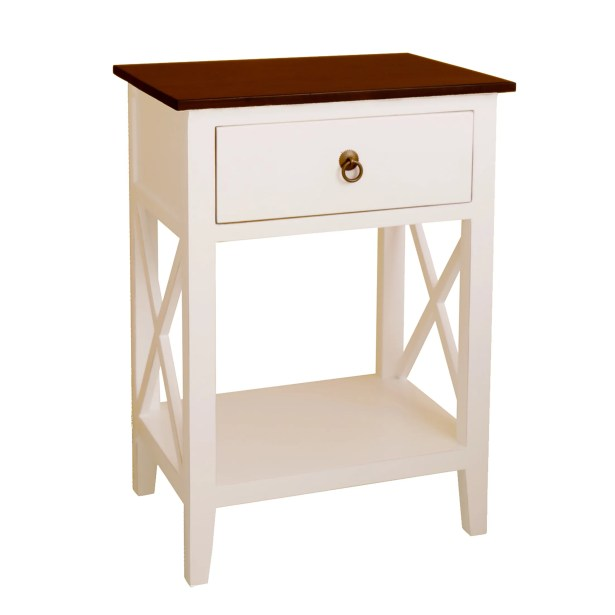 Maude End Table Table Top Color: Walnut, Table Base Color: White