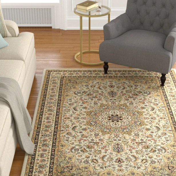 Knighten Classic Medallion Ivory/Beige Area Rug Rug Size: Rectangle 7'10