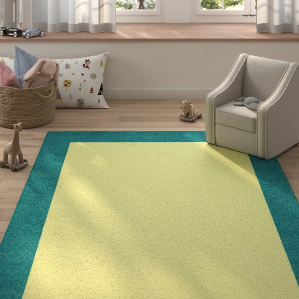Highlands Hand-Tufted Wool Teal/Yellow Indoor Area Rug Rug Size: Rectangle 8' X 10'