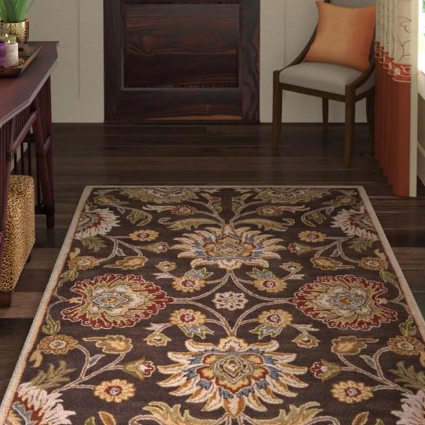 Topaz Hand-Tufted Wool Dark Brown Area Rug Rug Size: Runner 3' x 12'