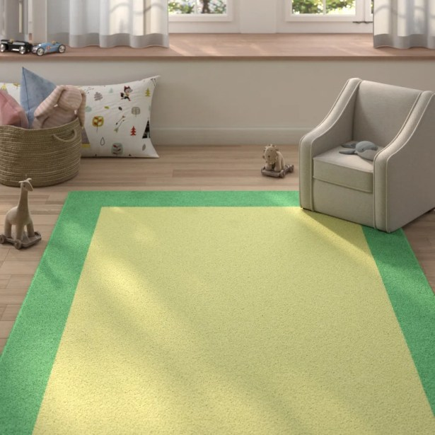 Highlands Hand-Tufted Wool Sea Green/Yellow Area Rug Rug Size: Rectangle 8' X 10'