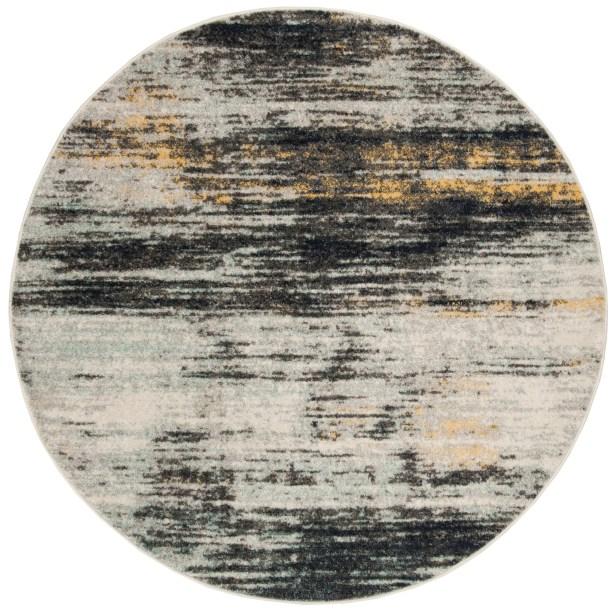 Bateman Light Gray/Black Area Rug Rug Size: Round 6' x 6'