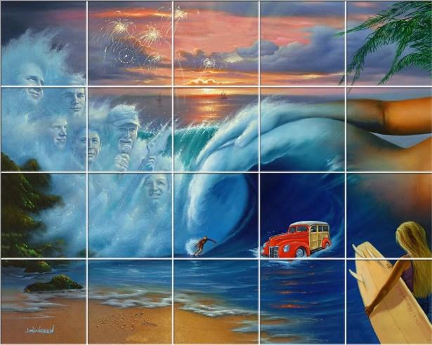 'Beach' Oil Painting Print Multi-Piece Image