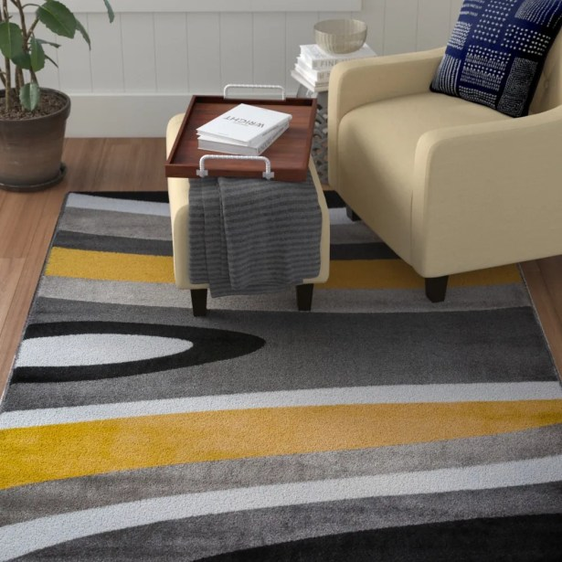 Warford Abstract Contemporary Modern Gray/Yellow Area Rug Rug Size: Rectangle 7'10