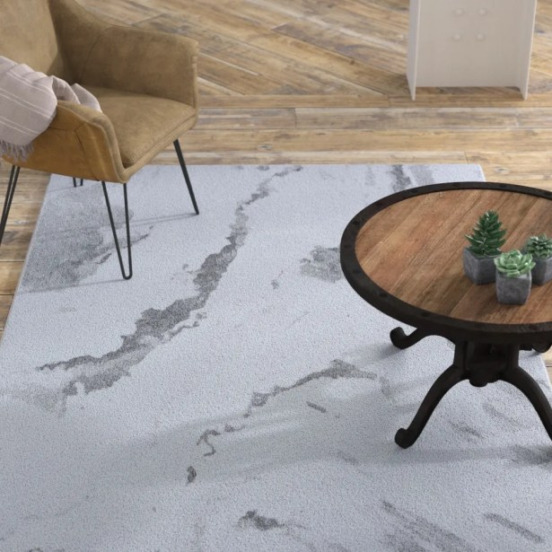 Driggers Abstract Marble Gray/White Area Rug Rug Size: Runner 2'2