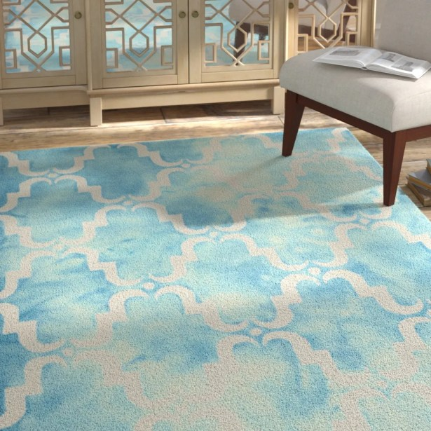Hand-Tufted Dip Dye Turquoise/Ivory Area Rug Rug Size: Rectangle 4' x 6'