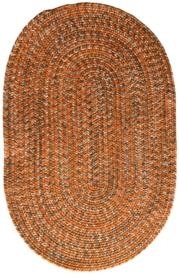 One-of-a-Kind Aukerman Hand-Braided Orange/Gray Indoor/Outdoor Area Rug Rug Size: Oval 9'2